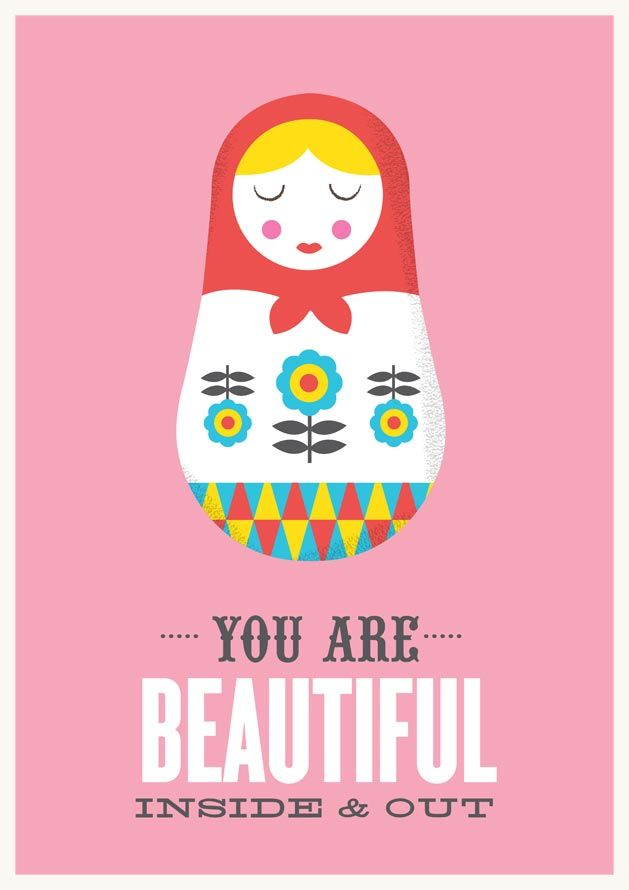 Matryoshka print, Quote poster, Pink nursery art, Russian doll print - product images  of