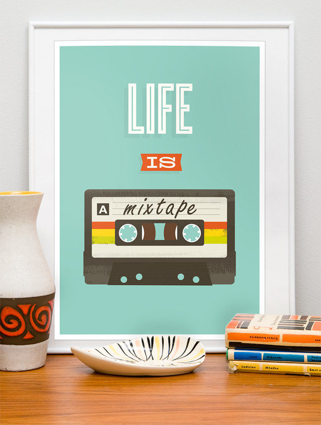 Mixtape poster, retro compact cassette print, life is a mixtape, inspirational quote art - product image
