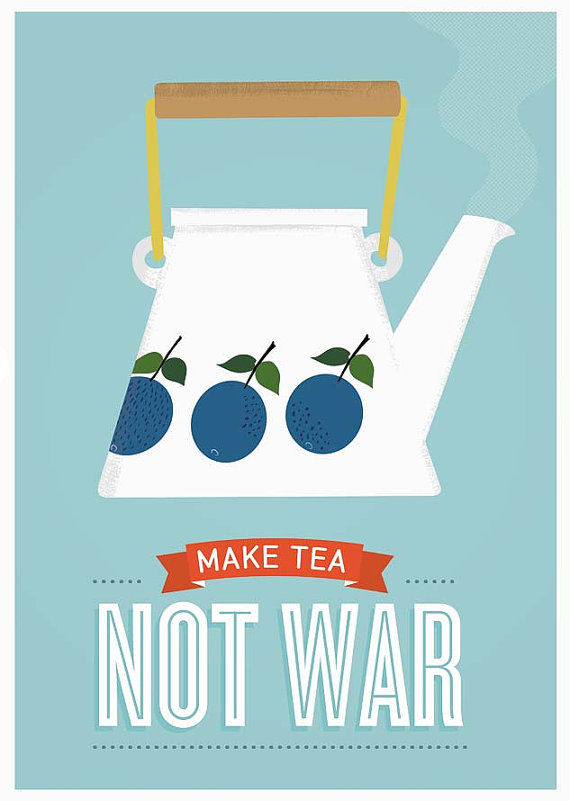 Tea print, Stig Lindberg poster, inspirational quote poster, make tea not war - product images  of