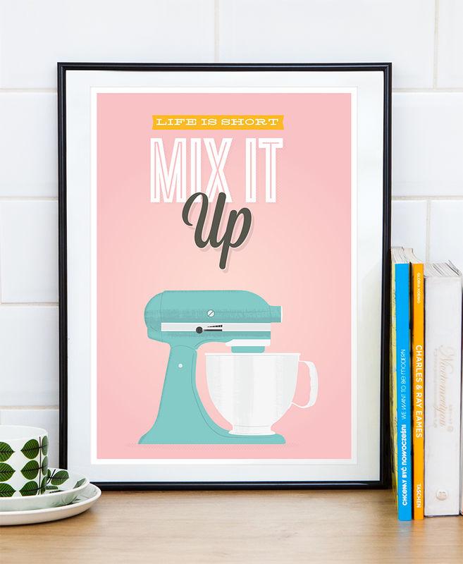 Retro Kitchen Print Kitchen Aid Poster Motivational Quote Art Mix It Up