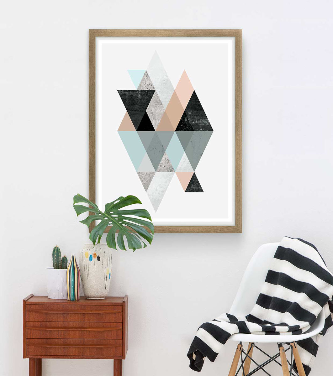 Scandinavian geometric abstract print - pink and blue  - product image