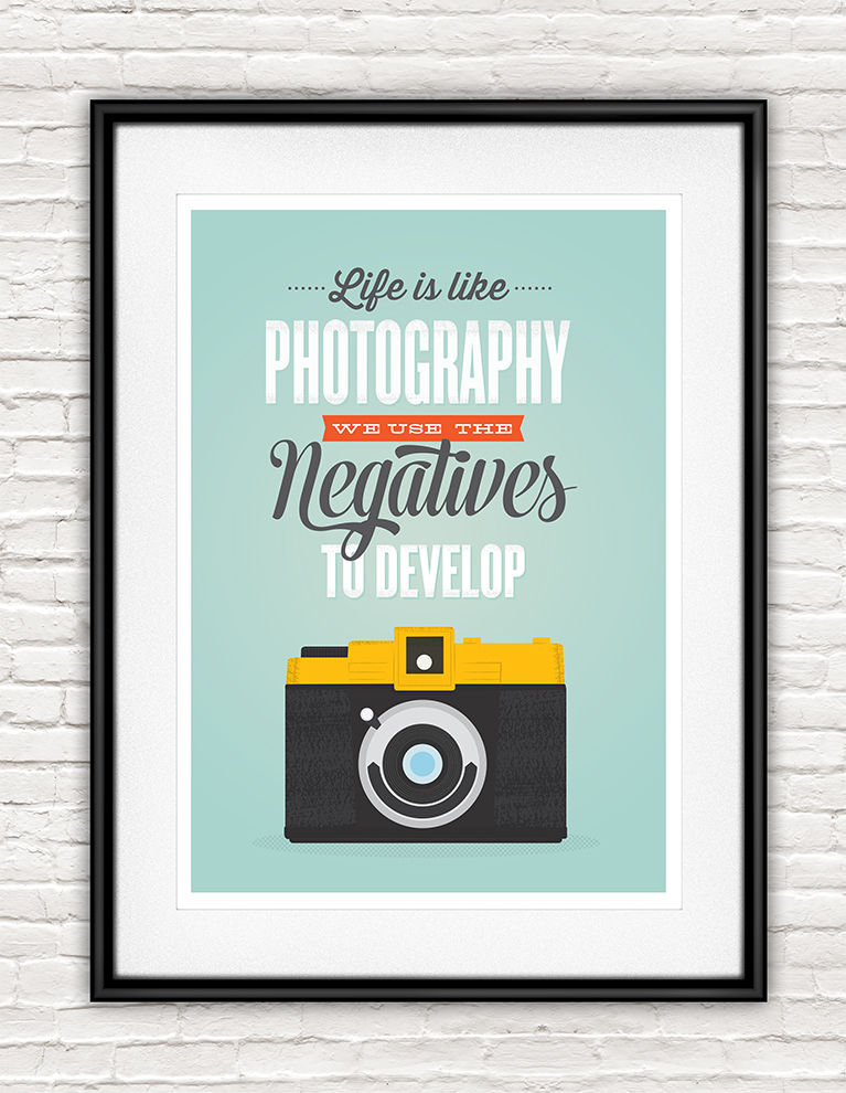 Inspirational quote retro camera poster - life is like photography - product images  of