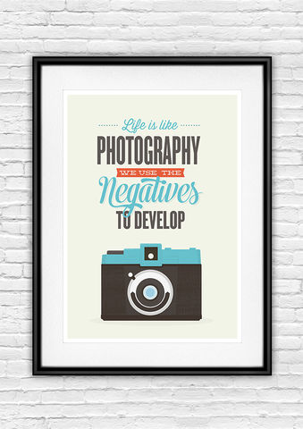 Retro,camera,inspirational,quote,print,inspirational quote, motivational print, retro camera, camera poster, quote print, life is like photography,  typography poster, colorful print, holga camera poster, lomography poster, inspiring quote print