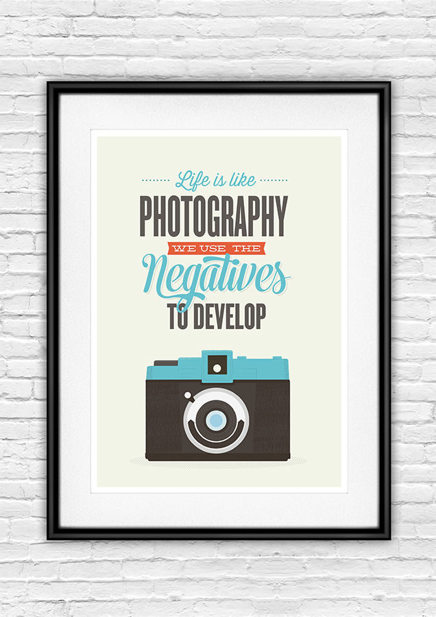 Retro camera inspirational quote print - product image