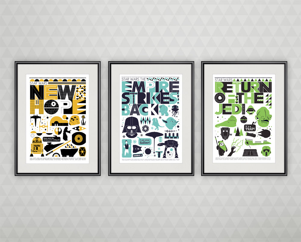 Star Wars trilogy movie poster set - minimalist movie posters - product images  of