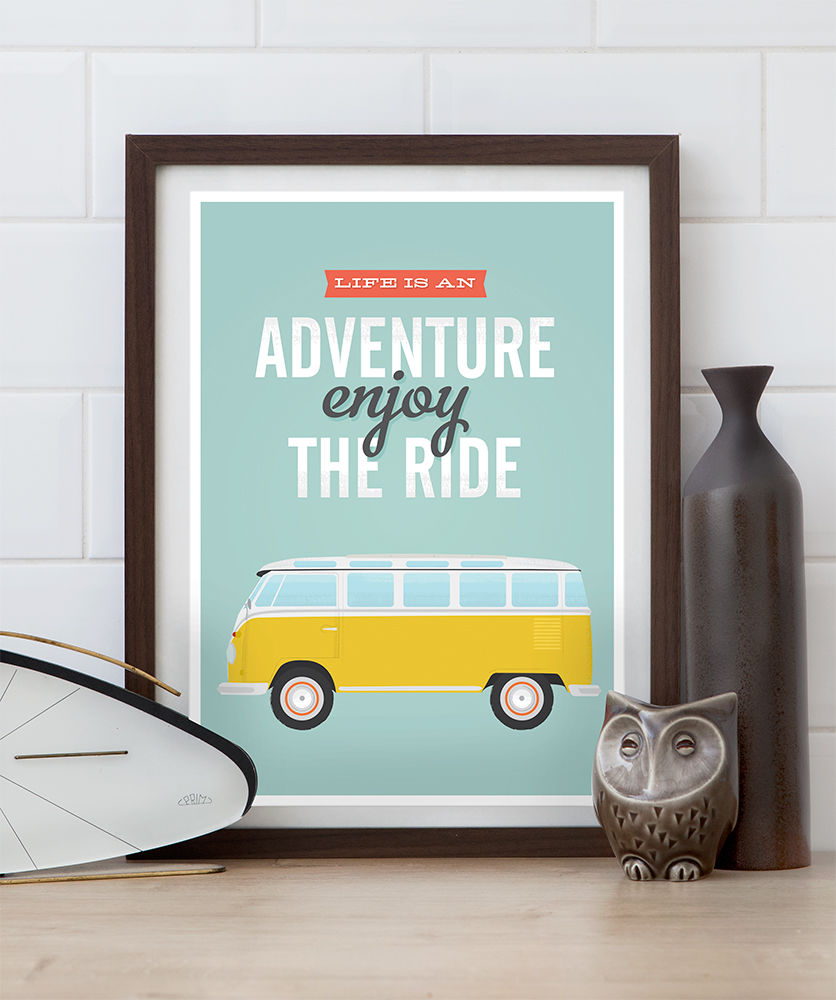 Volkswagen van quote print - life is an adventure, enjoy the ride - product image