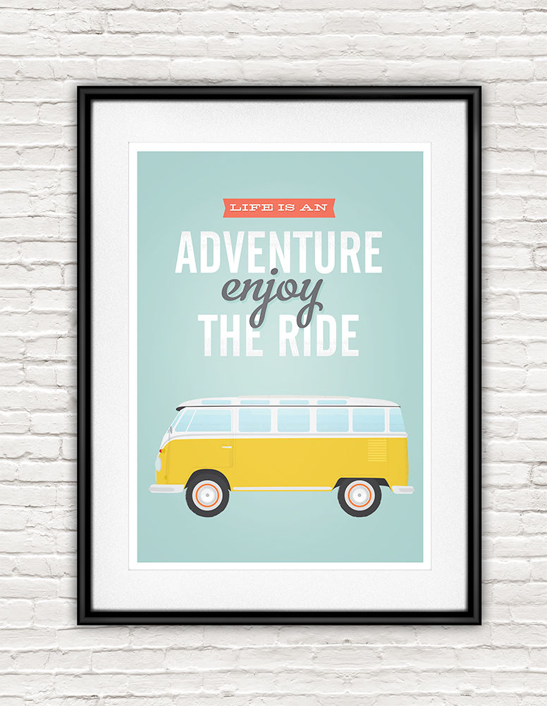 Volkswagen van quote print - life is an adventure, enjoy the ride - product images  of