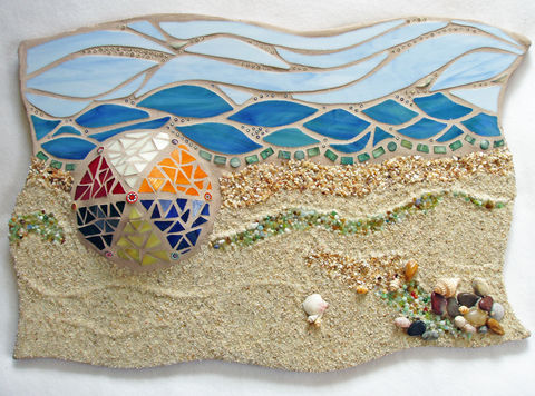Mosaic,Beach,Scene,If,I,Were,Stranded...,mosaic beach scene, wall decor