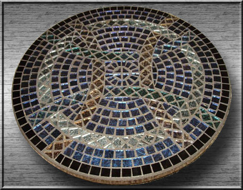Celtic,Circles,of,Love,by,Mel,Fischer,celtic circle mosaic, lazy susan mosaic, silver and blue mosaic