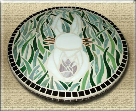 Bunny,Mosaic,lazy,susan,by,Mel,Fischer,stained glass bunny, bunny mosaic, rabbit mosaic, mosaic lazy susan, green grass, white rabbit