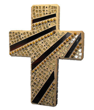 Ray,of,Hope,mosaic,cross,by,Mel,Fischer,mosaic cross, earth tone cross, brown and gold cross, mosaic wall hanging