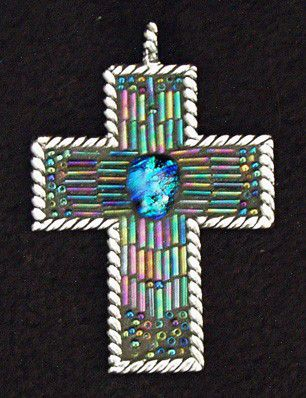 Bead Mosaic Cross Pendant by Mel Fischer - product images