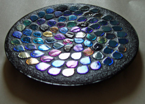 Mosaic,Raindrops,Dish,by,Mel,Fischer,mosaic raindrops dish, pillar candle dish, iridescent stained glass, aqua dish, rainbow colors