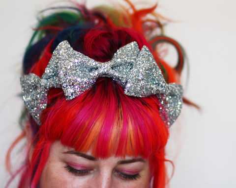 Triple,Glitter,Bow,Crown,Headband,,Various,Colours,Accessories,Hair,Headband,stars,gold,glitter,starry,golden,sparkly,fun,cute,janinebasil,uk,gold_headband,star_headband,elastic_headband,cotton_twill,elastic,felt