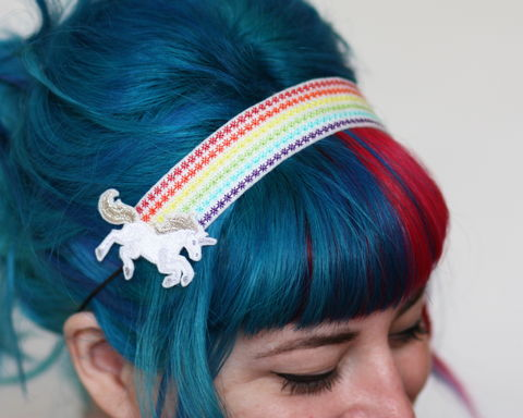 Unicorn,Headband,,with,stars,and,cloud,Accessories,headband,women,janine_basil,hair_band,unicorn, pastels,silver_hair_clip,metallic,polyester_felt,rayon_thread,elastic