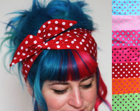 Spotty,Wired,Bow,Headband,,Choice,of,Colours,dolly bow headband, wired, tie hair band