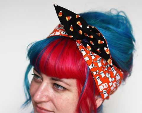 Halloween,Reversible,Wired,Bow,Headband,,Cute,Ghosts,and,Candy,Corn,dolly bow headband, wired, tie hair band