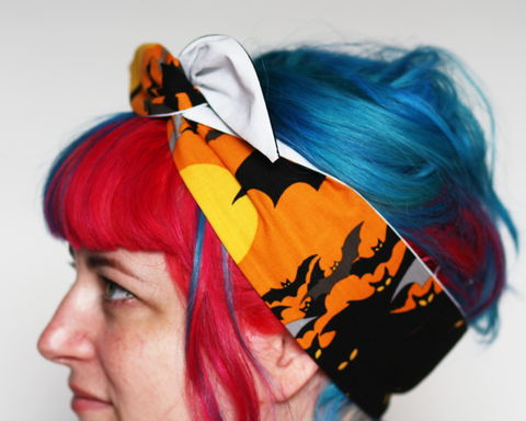 Halloween,Reversible,Wired,Bow,Headband,,Bats,and,Glow,in,the,Dark,dolly bow headband, wired, tie hair band