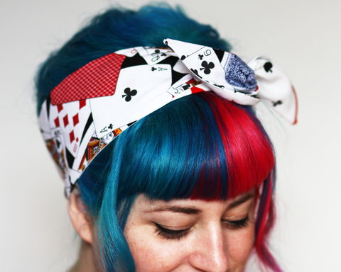 Rockabilly,Reversible,Wired,Bow,Headband,,Playing,Cards,and,Card,Suits,dolly bow headband, wired, tie hair band