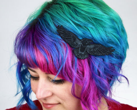 Raven,Hair,Clip,Accessories,women,janine_basil,hair_clip,barette,hair_barrette,cute_barrette,unicorn, pastels,silver_hair_clip,metallic,polyester_felt,rayon_thread,elastic