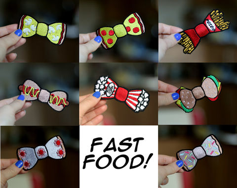 Fast,Food,Bow,Hair,Clip,Accessories,Hairclip,fastfood, bow, bowhairclip