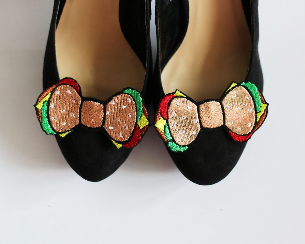 Burger Bow Shoe Clips, Fast Food Accessories - product image