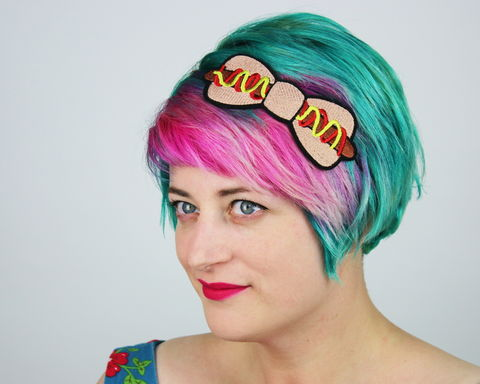 Hot,Dog,Fast,Food,Bow,Headband,Accessories,Hair,fastfood, bow, bowheadband