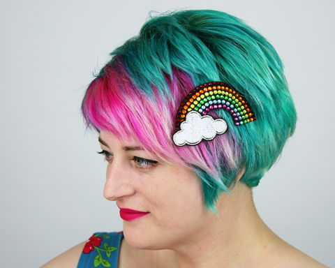 Rainbow,Rhinestone,with,Cloud,Hair,Clip,Accessories,Headband,womans_headband,bow_headband,adult_headband,rhinestones,sparkle_bow,kitty_bow,bow,cute_bow,kawaii_bow,cute_headband,yellow_bow,yellow_bow_headband