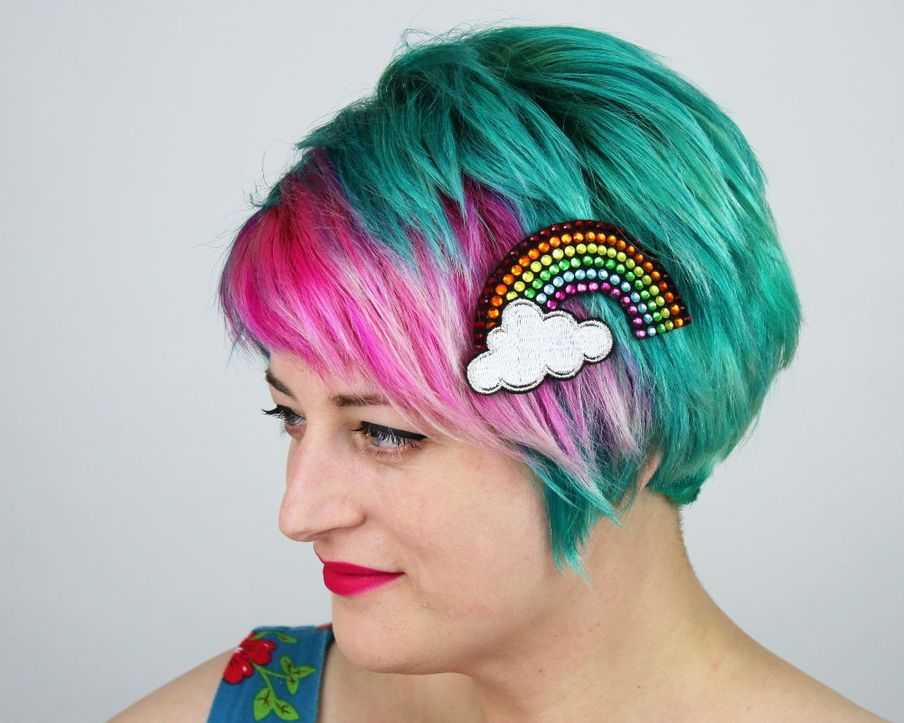 Rainbow Rhinestone with Cloud Hair Clip - product image