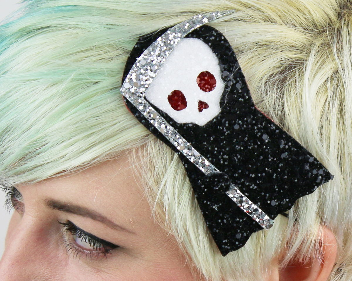 Cute Death Headband, Glitter, Halloween, Black - product images  of