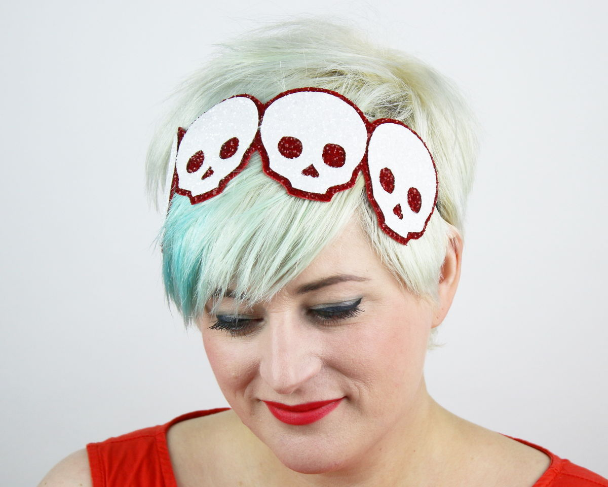 Skulls Headband, Glitter, Various Colours - product images  of