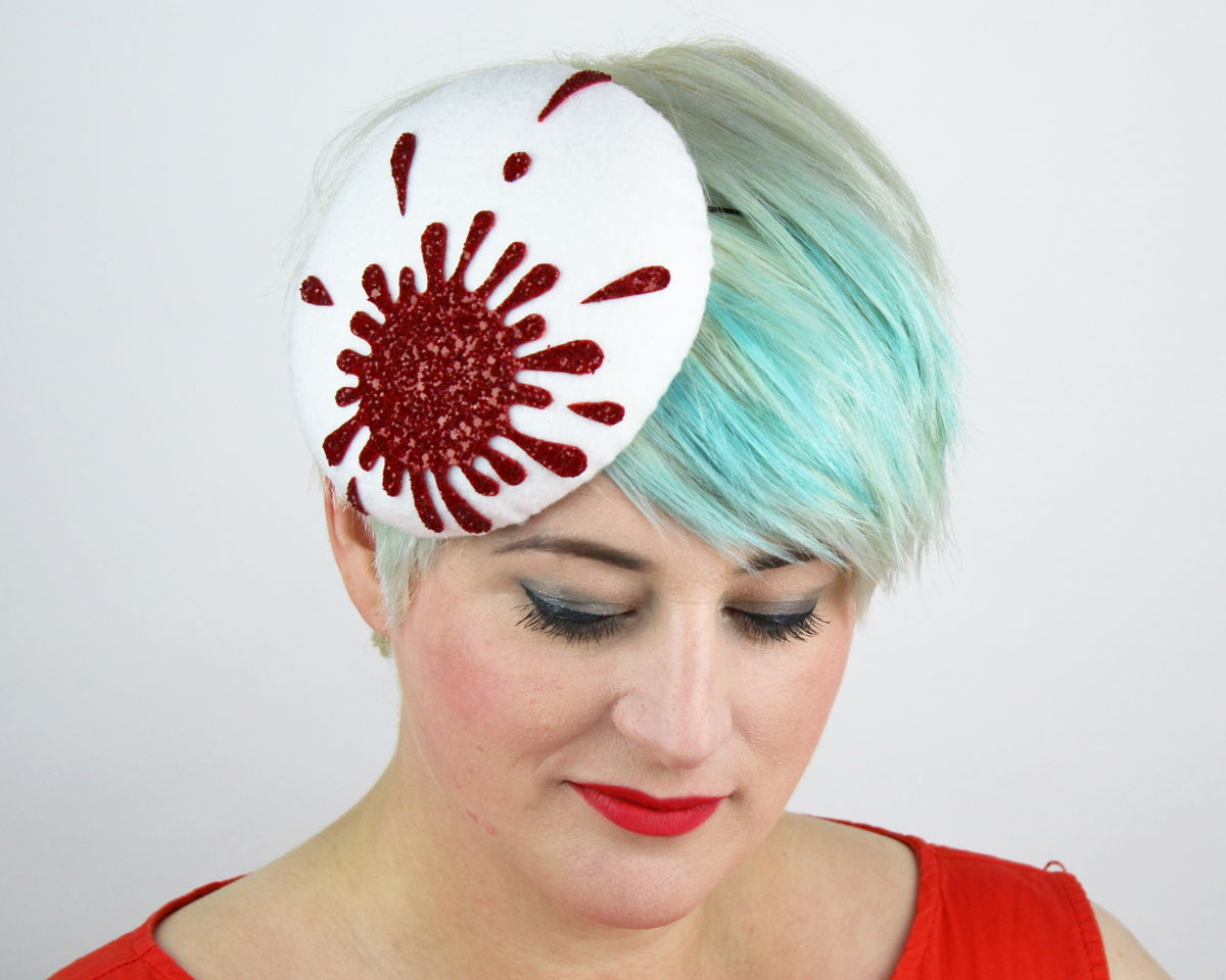 Blood Spatter Pill Box Hat, Glitter, Halloween - product image