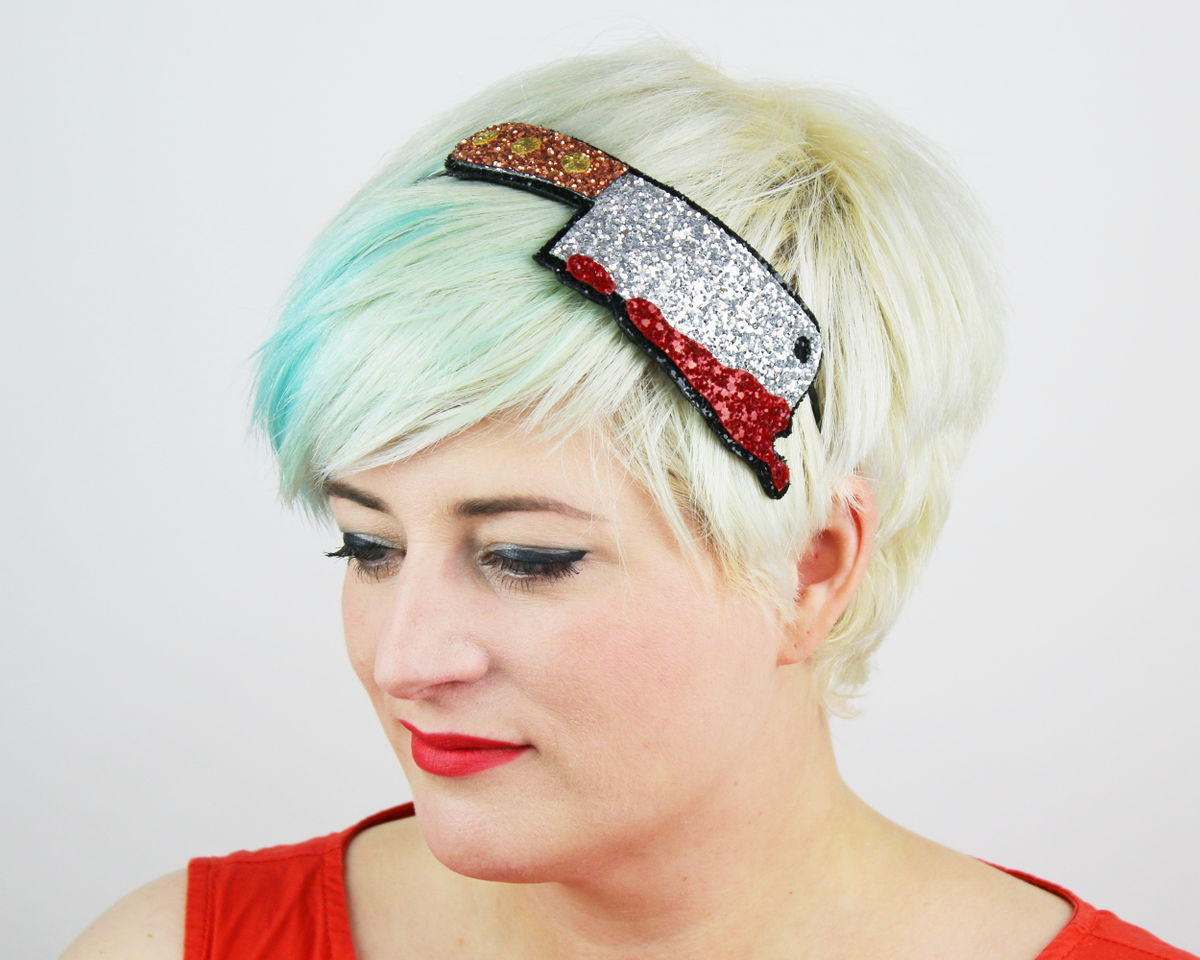 Halloween Bloody Meat Cleaver Headband, Glitter - product image