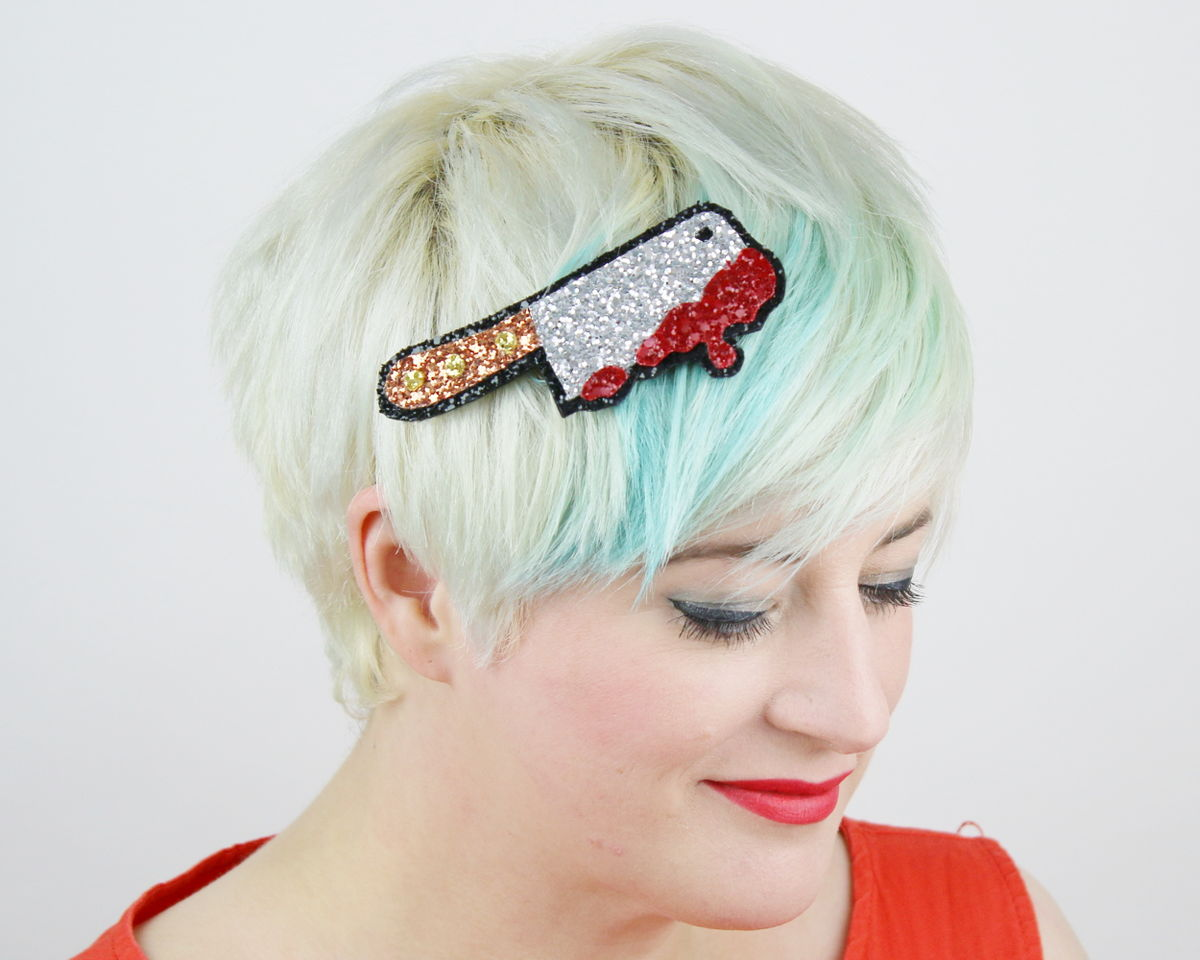 Halloween Bloody Meat Cleaver Hair Clip, Glitter - product image