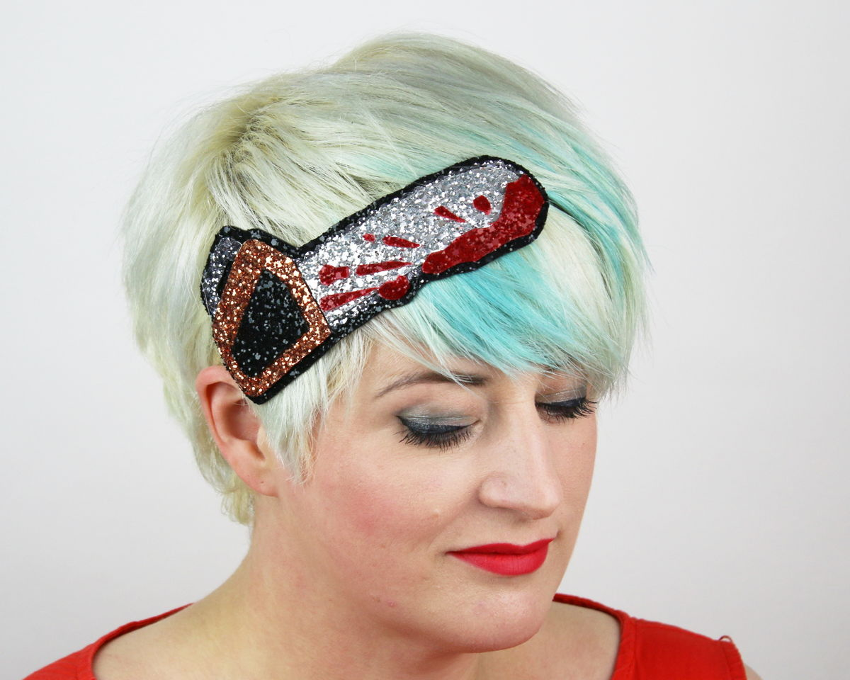 Halloween Bloody Chainsaw Headband, Glitter - product image