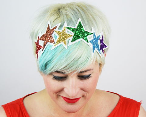 Glitter,Rainbow,Stars,Headband,Accessories,Hair,stars,gold,glitter,starry,golden,sparkly,fun,cute,janinebasil,uk,gold_headband,star_headband,elastic_headband,cotton_twill,elastic,felt
