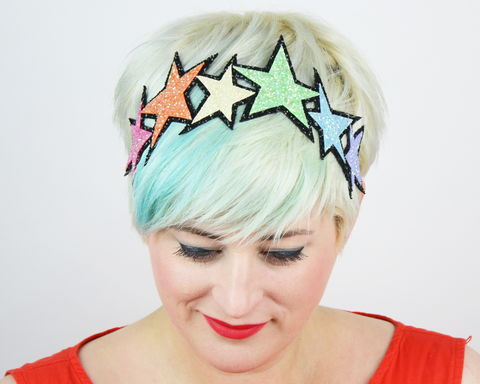 Glitter,Pastel,Rainbow,Stars,Headband,Accessories,Hair,stars,gold,glitter,starry,golden,sparkly,fun,cute,janinebasil,uk,gold_headband,star_headband,elastic_headband,cotton_twill,elastic,felt
