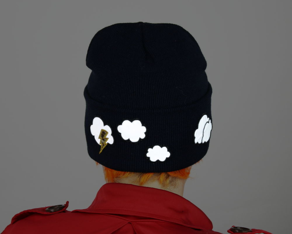 Reflective Safety Beanie Cap, Lightning and Clouds, with or without Pom Pom - product images  of