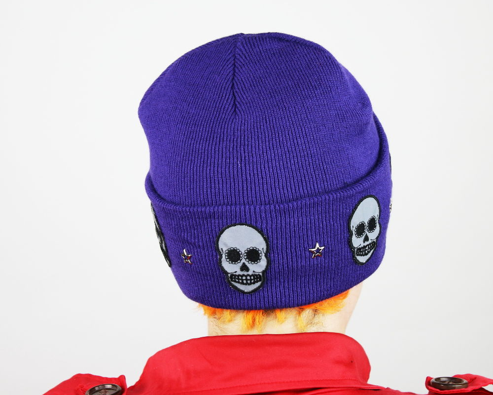 Reflective Safety Beanie Cap, Skulls with Star Studs and with or without Pom Pom - product images  of