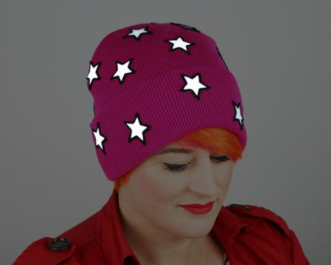 Reflective,Safety,Beanie,Cap,,Stars,with,or,without,Pom,Reflective hat, safety hat, knit hat