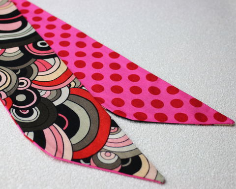 Reversible,Wired,Bow,Headband,,Retro,Circles,with,Pink,and,Red,Spots,dolly bow headband, wired, tie hair band