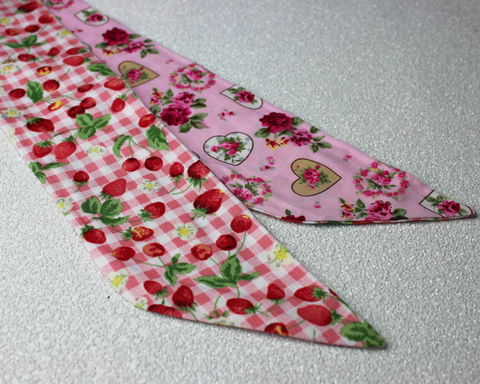 Strawberry,Gingham,and,Hearts,Reversible,Wired,Headband,dolly bow headband, wired, tie hair band