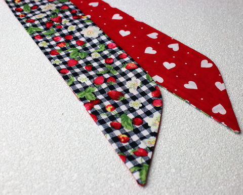 Navy,Strawberry,Gingham,and,Hearts,Reversible,Wired,Headband,dolly bow headband, wired, tie hair band