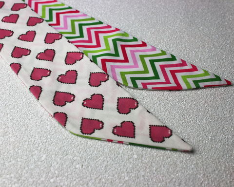 Pink,Pixel,Hearts,and,Chevron,Stripes,Reversible,Wired,Headband,dolly bow headband, wired, tie hair band