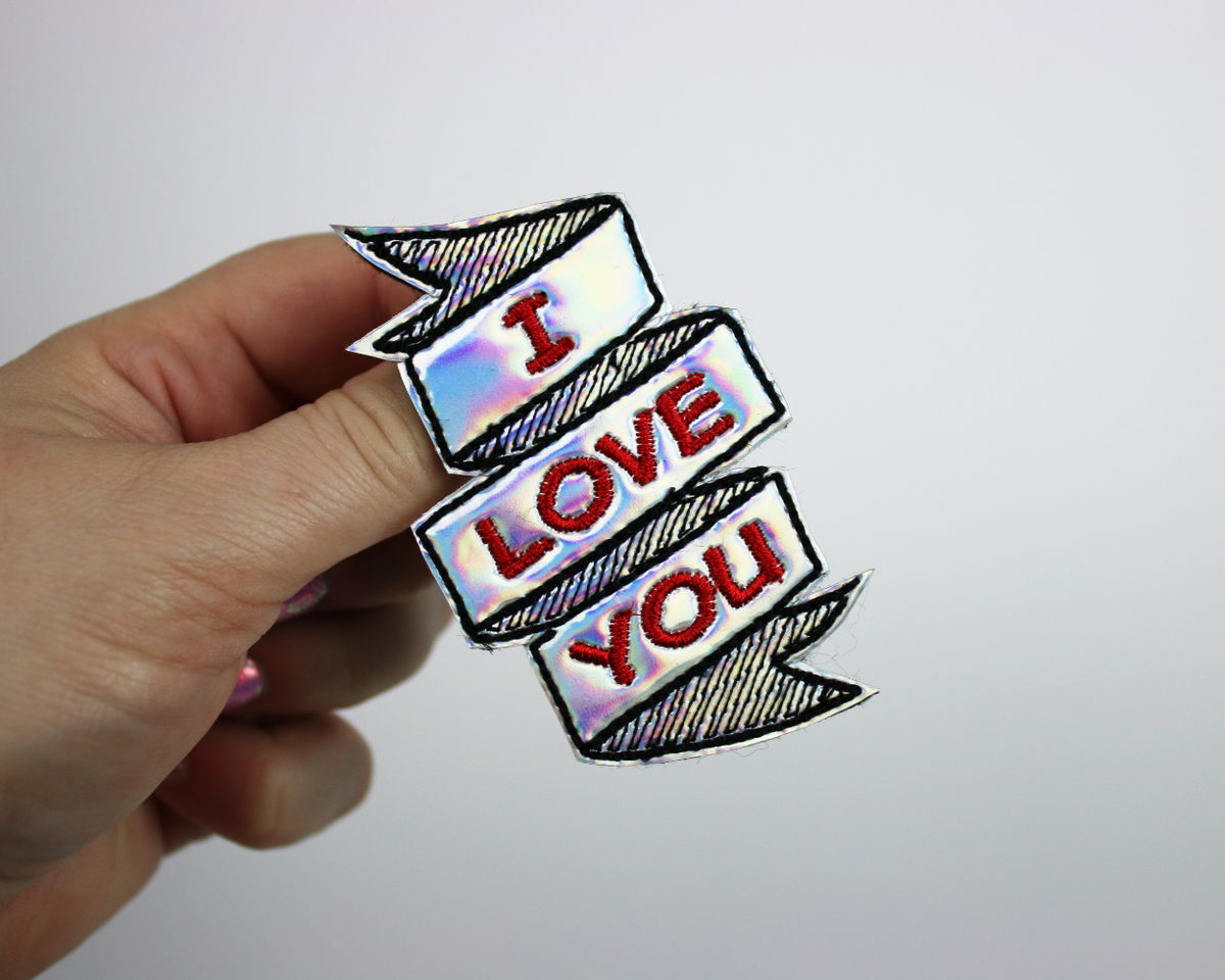 I Love You Valentine's Day Hair Clip or Brooch, Holographic or Rainbow - product images  of