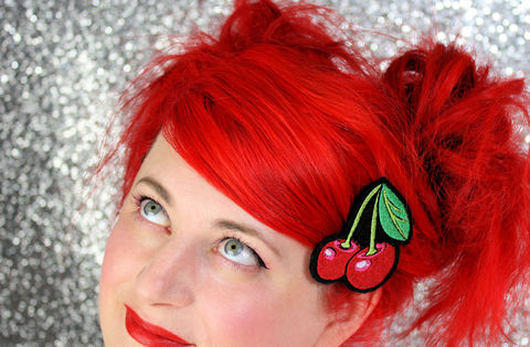 Cherries,Hair,Clip,,Rockabilly,Clip,Accessories,women,janine_basil,rockabilly_hair_clip,cherries,cherry_hair_clip,red,red_hair_clip,cherry_red,hair_barrette,cherry_clip,cherries_clip,hair_clip,polyester_felt,rayon_thread,elastic