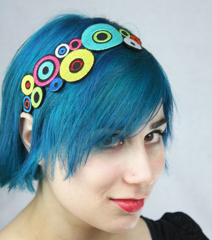 Bright,Colors,Headband,,Pop,Art,Circles,,Pink,,Yellow,,Red,,Blue,,Adult,Headband,Accessories,Hair,pop_art_circles,black,headpiece,janinebasil,uk,wholesale,red,hipster,pink,yellow,neon,circle_headband,bright_color,polyester_felt,rayon_thread,elastic