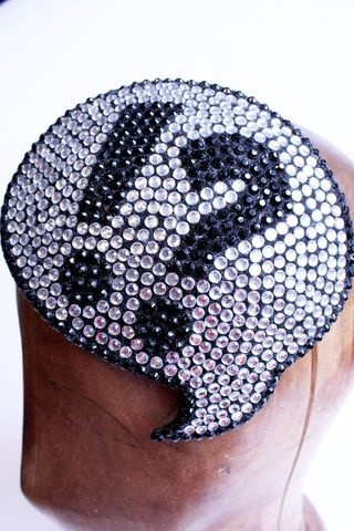 Say,whaaaaat,comic,inspired,rhinestone,covered,fascinator,Accessories,Hat,Headpiece,crystal,funky,rhinestones,black,geek,janinebasil,uk,wholesale,ttt,wire,buckram,felt