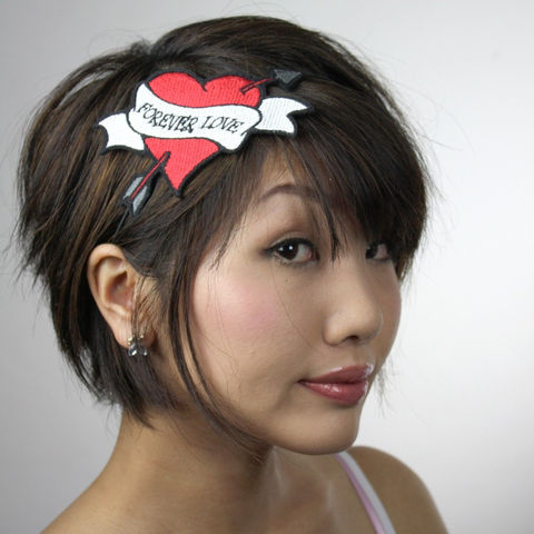 Tattoo,Heart,Headband,,Forever,Love,,Cupids,Heart,,Red,Headband,Accessories,Hair,women,headband,janine_basil,janinebasil,hearts,red,black_and_white,valentine,forever_love,cupids_arrow,tattoo_heart,heart_headband,cupid_heart_headband,polyester_felt,rayon_thread,elastic