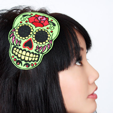 Sugar,skull,headband,Dia,de,los,muertos,,Various,Colours,Accessories,Hair,women,janine_basil,janinebasil,uk,wholesale,sugar_skull,halloween,day_of_the_dead,halloween_green,dia_de_los_muertos,ttt,polyester_felt,rayon_thread,elastic